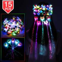 PROLOSO LED Lights Hair Flower Crown Set Light Up Foam Flower Wreath Headband Hair Barrettes Kit Glow in The Dark Headpiece Headdress Flash Braid Party Supplies 15 Pcs