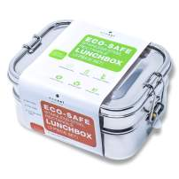 Ecozoi LEAK PROOF Stainless Steel 3-in-1 Eco Lunch Box Bento Boxes   REDESIGNED Silicone Seal + BONUS Lunch Pod   Sustainable Tiffin Eco Friendly Metal Bento Box Food Storage Containers