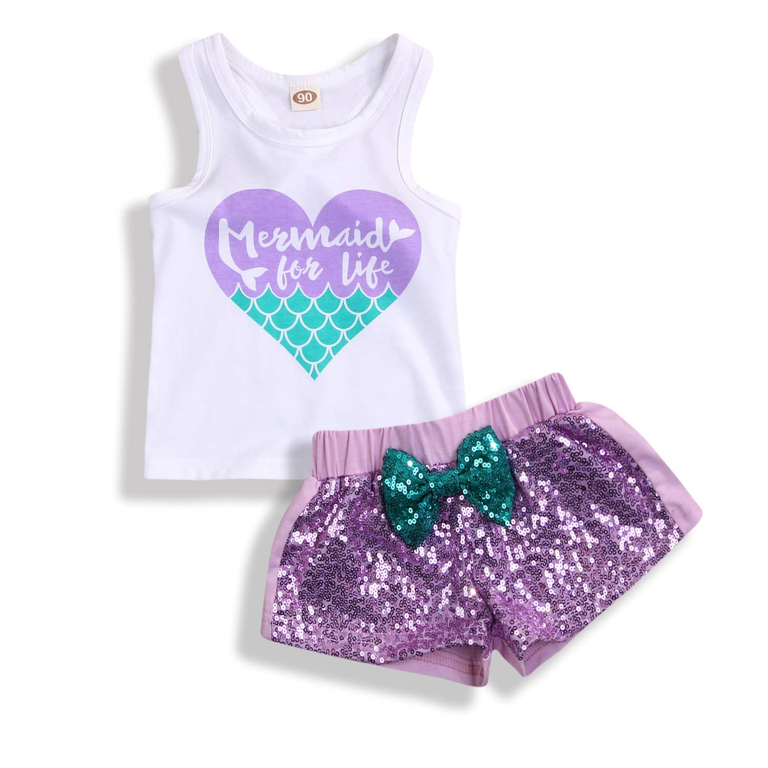 2Pcs Baby Girls Mermaid Outfits Heart Letter Printed Vest Tops Sequin Shorts Summer Clothes Set