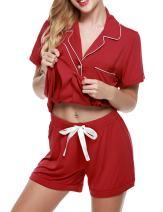 luxilooks Women Pajamas Set Short Sleeve Sleepwear Button Down Nightwear Pjs XS-XXL