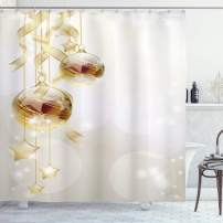 """Ambesonne Christmas Shower Curtain, Xmas Balls with Swirled Ribbons and Stars on Modern Abstract Background, Cloth Fabric Bathroom Decor Set with Hooks, 84"""" Long Extra, White Yellow"""