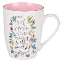 Act Justly Love Mercy Walk Humbly Micah 6:8 Ceramic Christian Coffee Mug for Women and Men - White/Pink Floral Inspirational Coffee Cup, 12-Ounce