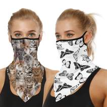 2 PCS Bandana Neck Gaiter Face Mask with Ear Loops for Men Women Breathable Neck Scarf Face Cover for Wind Dust
