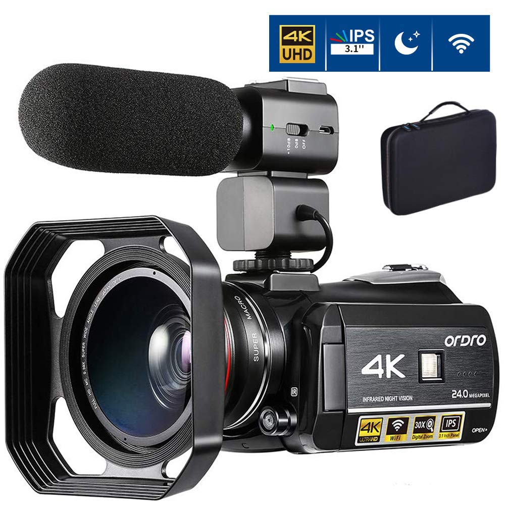 """4K Camcorder Video Camera ORDRO AC3 4K Ultra HD Digital WiFi Video Camcorder 1080P 60FPS Recorder IR Night Vision 3.1"""" IPS Touch Screen with Microphone, Wide Angle Lens and Storage Case"""