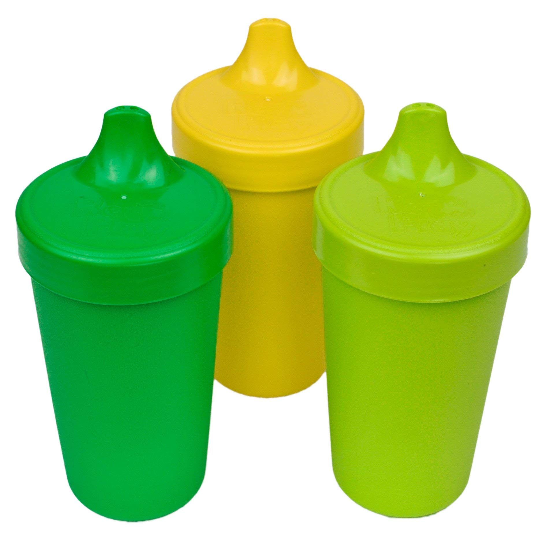 Re-Play Made in USA 3pk No Spill Cups for Baby, Toddler, and Child Feeding in Kelly Green, Yellow and Lime | Made from Eco Friendly Heavyweight Recycled Milk Jugs - Virtually Indestructible (Stem)