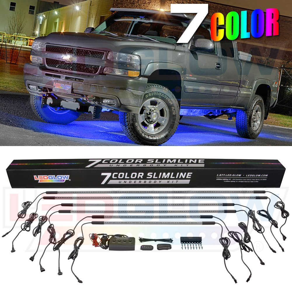 LEDGlow 6pc Multi-Color Truck Slimline LED Underbody Underglow Accent Neon Lighting Kit - 7 Solid Colors - 18 Unique Patterns - Music Mode - Water Resistant Tubes - Includes Control Box & Remote