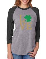 Irish Clover Love St. Patrick's Day 3/4 Women Sleeve Baseball Jersey Shirt