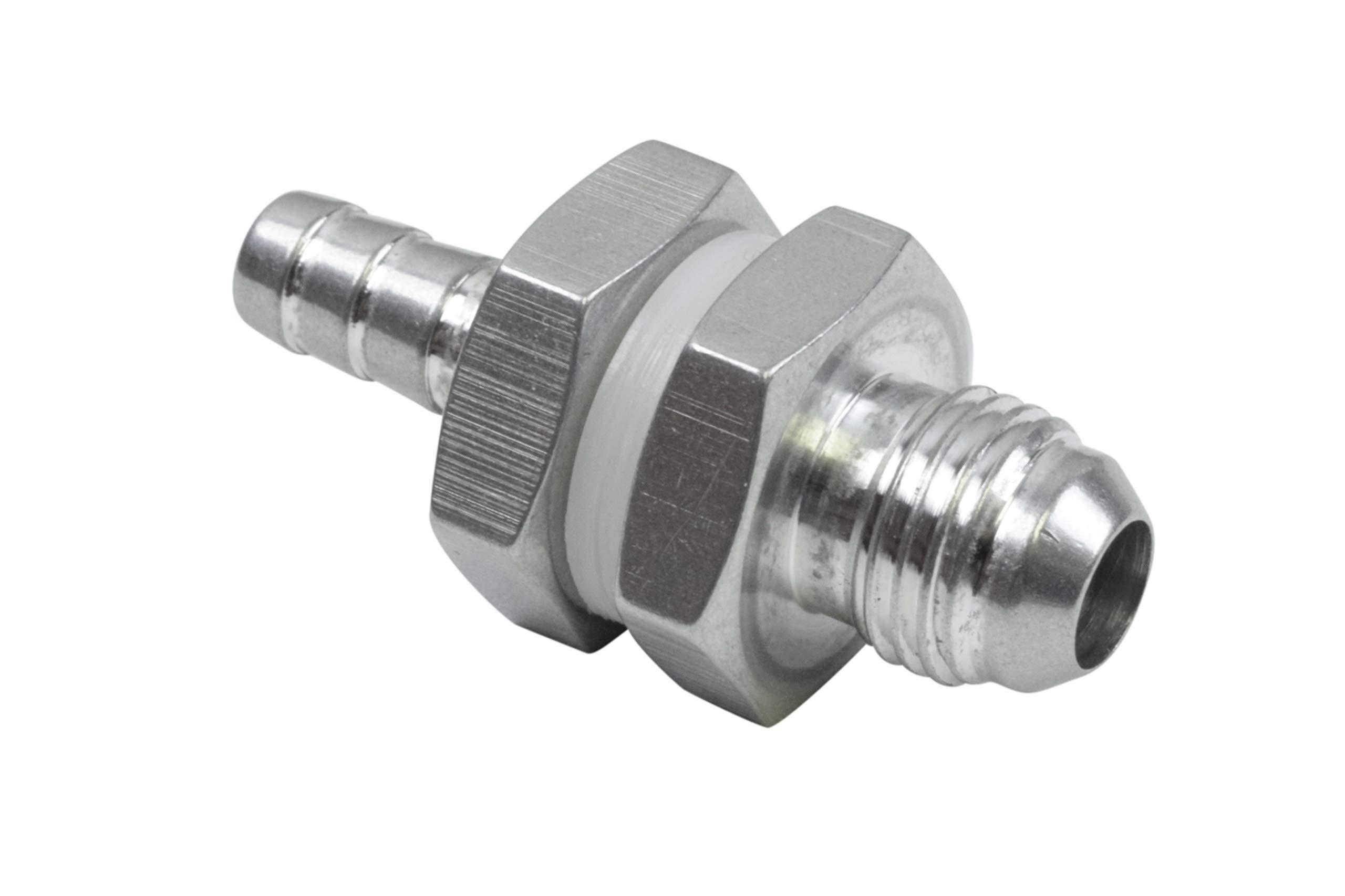 "ICT Billet -6AN Male Straight to 5/16"" .3125 Hose Barb Double Fuel Pump Tank Fitting Bulkhead Adapter AN861-06-31A Fluid Reservoir Plumbing Oil Port Bare Aluminum AN861-06-31A"