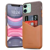 BIGPHILO iPhone 11 Case with Card Holder, Mix Series Slim Cover iPhone 11 Wallet Style, Soft-Touch Fabric with Vegan Leather Case for iPhone 11 (6.1-inch) - Brown/Brown