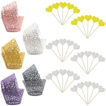 100pcs Cupcake Wrapper Lace, YuCool 5 Colors Laser Cut Filigree Cupcake Wraps Liner Baking Cup +30 pcs Heart Shape Decoration Sticks (Multicolor)