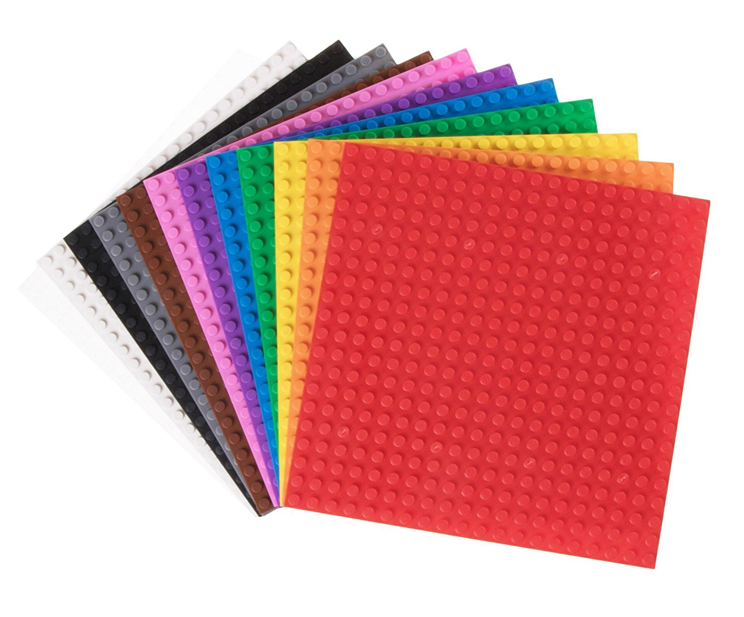 "Classic Baseplates | 100% Compatible with All Major Building Brick Brands | Stackable Bases | 12 Tight Fit Base Plates in Rainbow Colors 6"" x 6"""