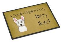 Caroline's Treasures BB1474MAT Westie Spoiled Dog Lives Here Indoor or Outdoor Mat 18x27, 18H X 27W, Multicolor