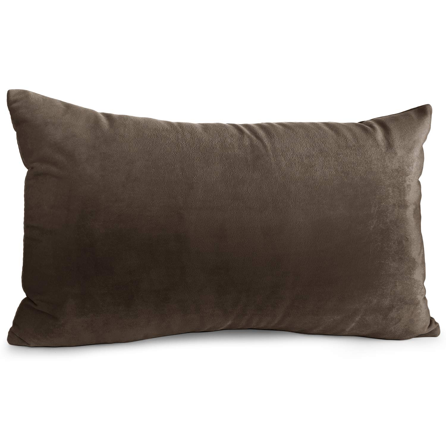 """Nestl Bedding Throw Pillow Cover 12"""" x 20"""" Soft Square Decorative Throw Pillow Covers Cozy Velvet Cushion Case for Sofa Couch Bedroom - Chocolate Brown"""