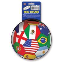Beistle 12-Pack Peel 'N Place Stickers, 5-1/4-Inch, International