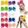 "DEEKA 10 PCS Multi-colored 8"" Hand-made Grosgrain Ribbon Hair Bow Alligator Clips Hair Accessories for Little Girls"