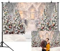 CapiSco 8X6FT Winter Christmas Backdrop Background for Photography White Snow Pine Tree Snowflake Background for Newborn Children Birthday Christmas Party Gift Decor Photo Shoot Backdrops SCO128B