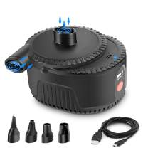 Electric Air Pump Rechargeable Portable Air Mattress Pump for Quick Inflate Deflate, Camping Inflatable Cushions, Pool Floats, Air Bed, Swimming Ring, Water Toy with 4 Nozzles, USB/4000mAh