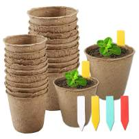 YBB 60 Pcs Plant Starter Pots + 60 Pcs Colorful Plant Markers, 3 Inch and 2.36 Inch Biodegradable Plant Seed Starter Kit Organic Peat Pots for Seedlings, Flowers, Vegetables