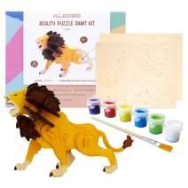 Allessimo Reality Puzzles 3D Wooden Model Paint Kit (Lion - 34 pc Puzzle) Toys for Kids & Adults DIY Puzzle Build 3D Puzzles Paint Kits