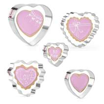 KAISHANE Valentine's Day Cookie Cutters Set - 5 PCS Stainless Steel Heart cookie Cutters Biscuit Pastry Cutters
