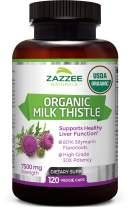 Zazzee USDA Organic Milk Thistle Extract Capsules, 120 Count, Vegan, 7500 mg Strength, 80% Silymarin Flavonoids, Potent 30:1 Extract, USDA Certified Organic, Vegan, Non-GMO and All-Natural