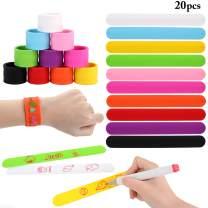 Slap Bracelets Bulk, B bangcool DIY Silicone Rainbow Slap Bracelet Wrist Bands for Adults & Kids Families Carft Kit (20PCS)
