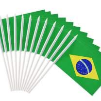 "Anley Brazil Stick Flag, Brazilian 5x8 inch Handheld Mini Flag with 12"" White Solid Pole - Vivid Color and Fade Resistant - 5 x 8 inch Hand Held Stick Flags with Spear Top (1 Dozen)"