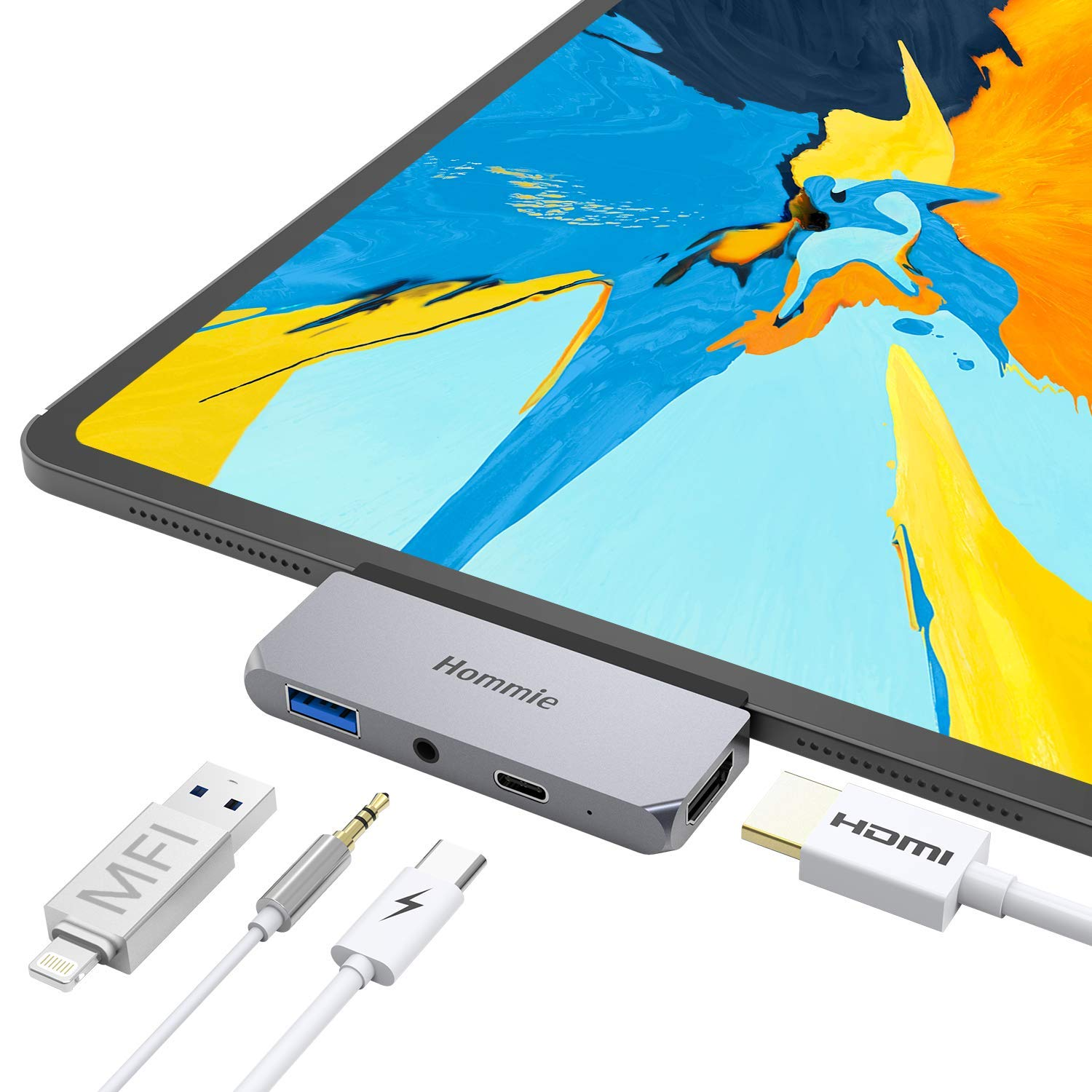 Hommie USB Type-C Hub for iPad Pro 2020 2018 and MacBook Pro, USB C Hub Adapter with USB-C PD Charging, 4K HDMI, USB 3.0 & 3.5 mm Headphone Jack, Space Gray