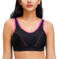 Deyllo Women's Workout Sports Bra High Impact Support No Bounce Wirefree Plus Size