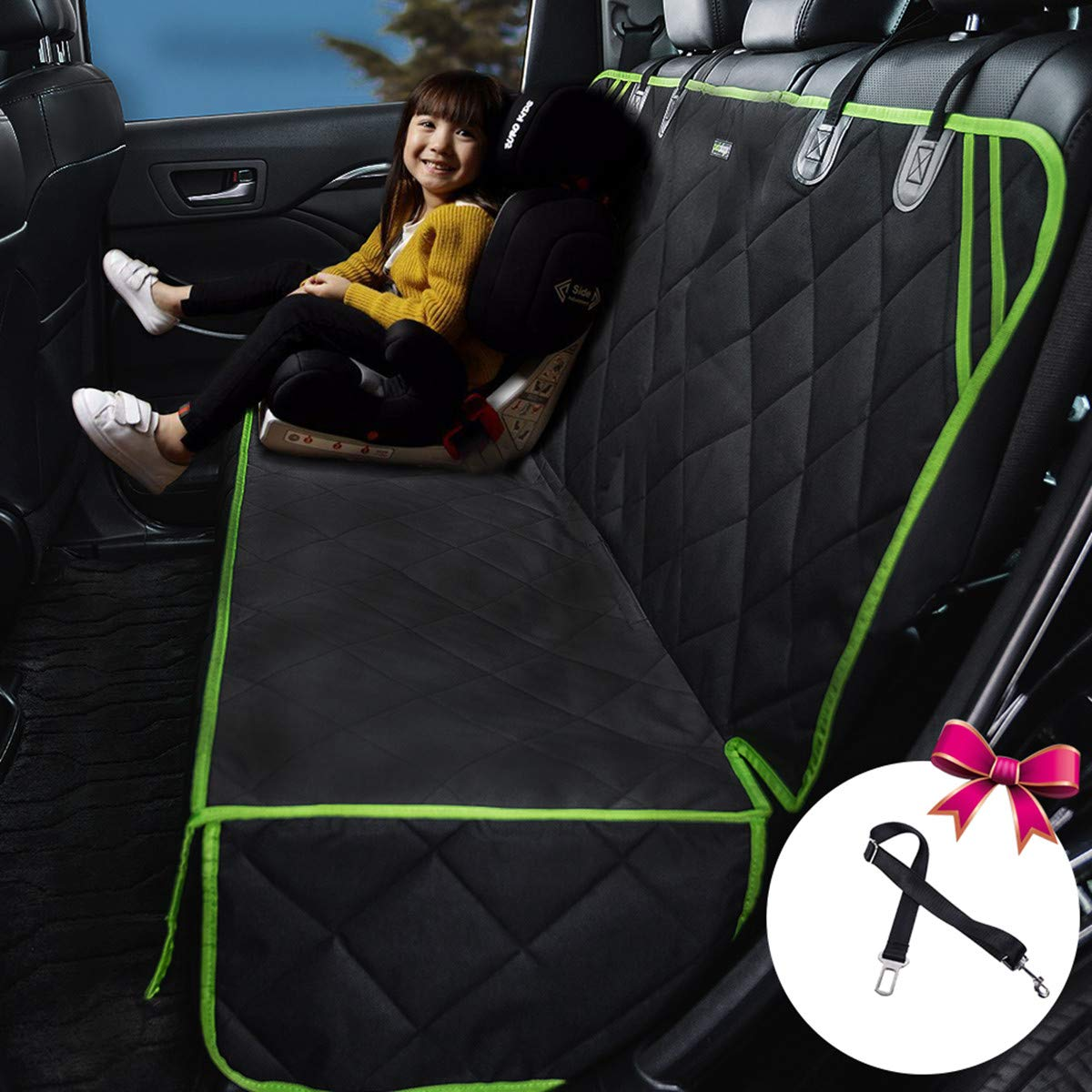petalage ench Car Seat Cover Protector - Waterproof, Heavy-Duty and Nonslip Pet Car Seat Cover for Dogs with Universal Size Fits for Cars, Trucks & SUV (Green Edge) (56''X50'')