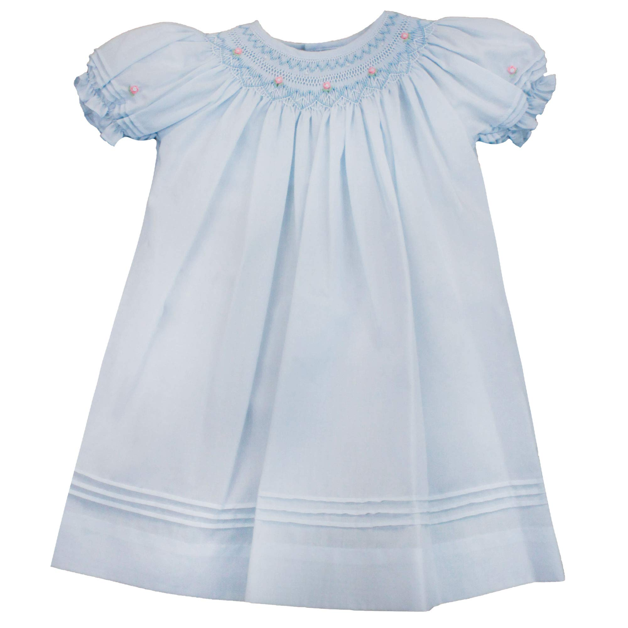 Petit Ami Baby Girls' Daygown with Heart Smocking and Pearls, 3 Months, Blue