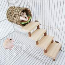 Hamster Chew Toys,Guinea Pig Wooden Molar Toys Wooden Stair and Drill Pipe Set Safe Climbing Protect Teeth Health for Golden Silk Bear Totoro Hamster Guinea Pig Gerbil Etc