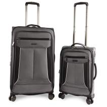 Perry Ellis Luggage Viceroy 2 Piece Set Expandable Suitcase with Spinner Wheels, Charcoal, One Size