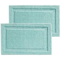 "mDesign Soft Microfiber Polyester Non-Slip Rectangular Spa Mat, Plush Water Absorbent Accent Rug for Bathroom Vanity, Bathtub/Shower - Machine Washable, 34"" x 21"" - 2 Pack - Mint Green"