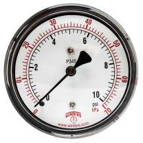 "Winters PLP Series Steel Dual Scale Low Pressure Gauge with Brass Internals, 0-10 psi, 2-1/2"" Dial Display, +/- 3-2-3% Accuracy, 1/4"" NPT Center Back Mount"