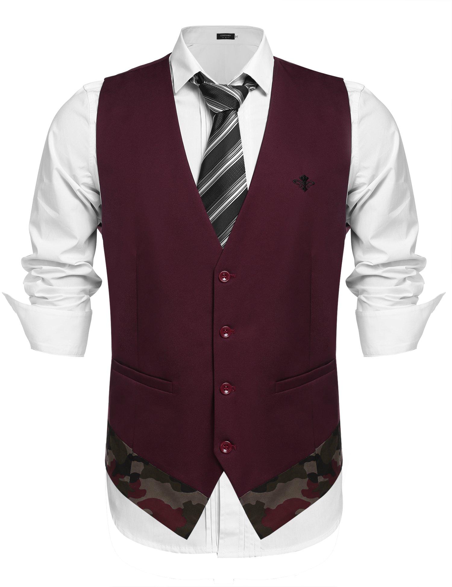 COOFANDY Men's Suit Vest Business Dress Waistcoat Vest with 2 Pockets for Suit Tuxedo