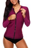 Sociala Women's Zip Front Rash Guard Long Sleeve Swim Shirt UPF 50+