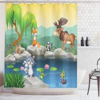 """Ambesonne Cartoon Shower Curtain, Funny Mascots Animals by The Lake Moose Fox Squirrel Raccoon Kids Nursery Theme, Cloth Fabric Bathroom Decor Set with Hooks, 84"""" Long Extra, Blue Yellow"""