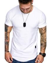 AUDATE Men's T-Shirt Short Sleeve Basic Round Neck Slim Fit Hipster Shirt Sweatshirt Casual Tee Tops