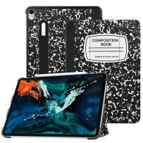 """Fintie SlimShell Case for iPad Pro 12.9"""" 3rd Gen 2018 [Supports 2nd Gen Pencil Charging Mode] - Lightweight Stand Cover with [Secure Pencil Holder] Auto Sleep/Wake, Composition Book Black"""