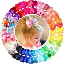 40 Colors 4.5 Inches Hair Bows Clips Grosgrain Ribbon Rainbow Bows Alligator Clips Hair Accessories for Girls Toddler Infants Kids Teens Children