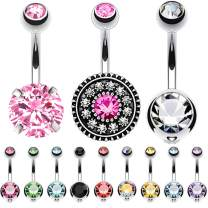 BodyJ4You 12PC Belly Button Ring Sets Multicolor CZ Created-Opal 14G Banana Steel Curved Navel Bar