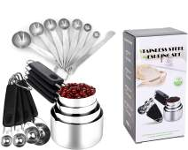 Measuring cups and spoons set stainless steel - Stainless steel measuring cups and spoons can be hanged- Measuring cup and spoons set for measuring coffee, pet food, grains, protein, spices, dry goods