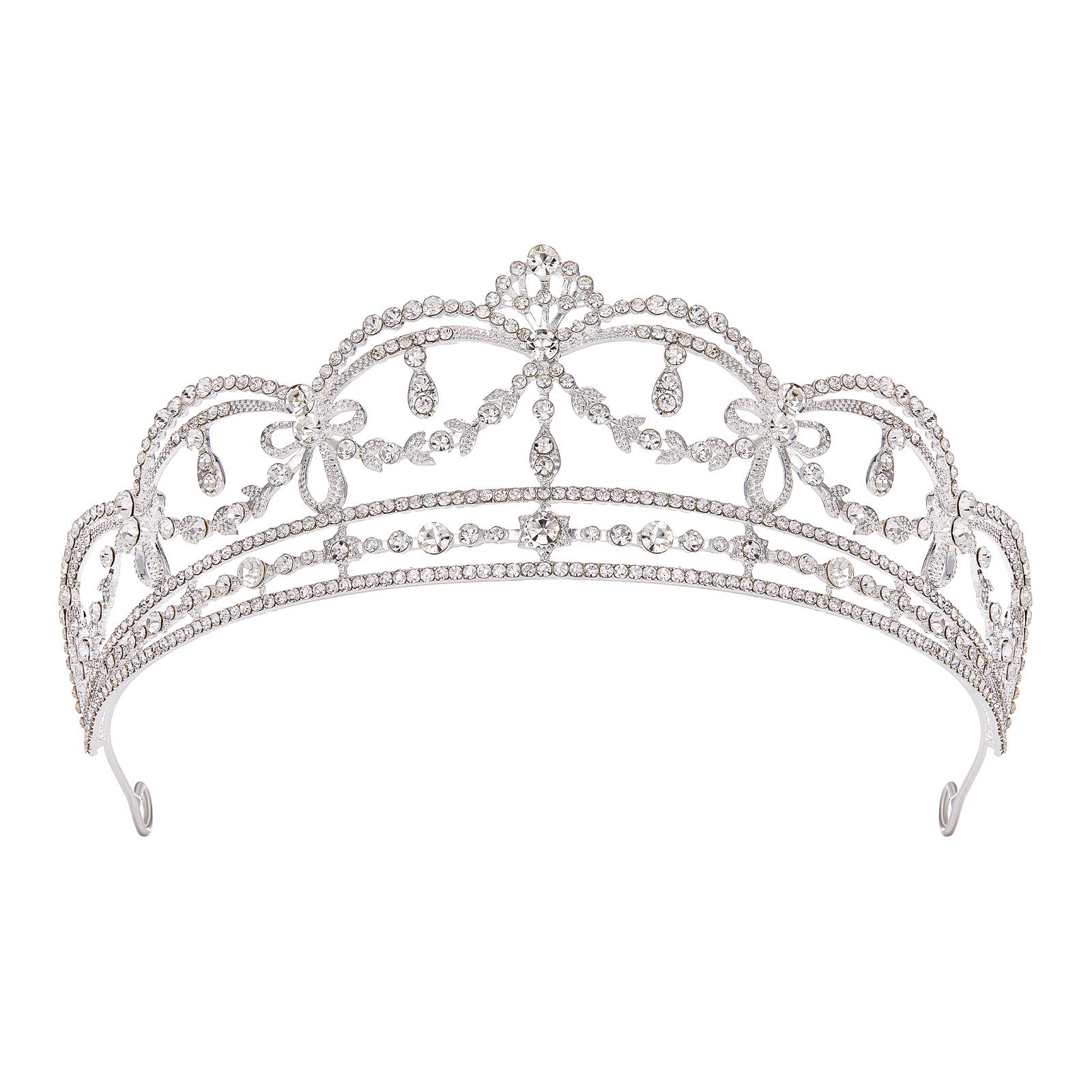 SWEETV Silver Wedding Tiara for Bride, Crystal Tiaras and Crowns for Women, Metal Bridal Headband Princess Headpieces for Birthday Quinceanera Pageant Prom