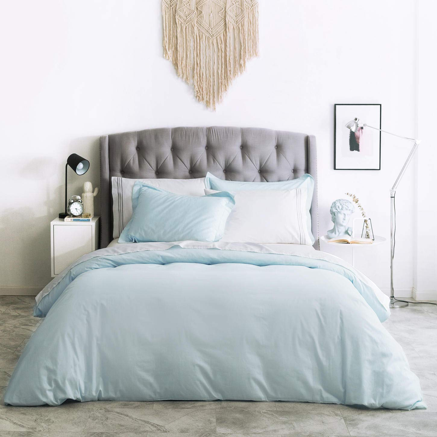 SUSYBAO 3 Pieces Duvet Cover Set 100% Natural Cotton Queen Size 1 Duvet Cover 2 Pillow Shams Powder Blue Luxury Quality Ultra Soft Breathable Lightweight Fade Resistant Solid Bedding with Zipper Ties