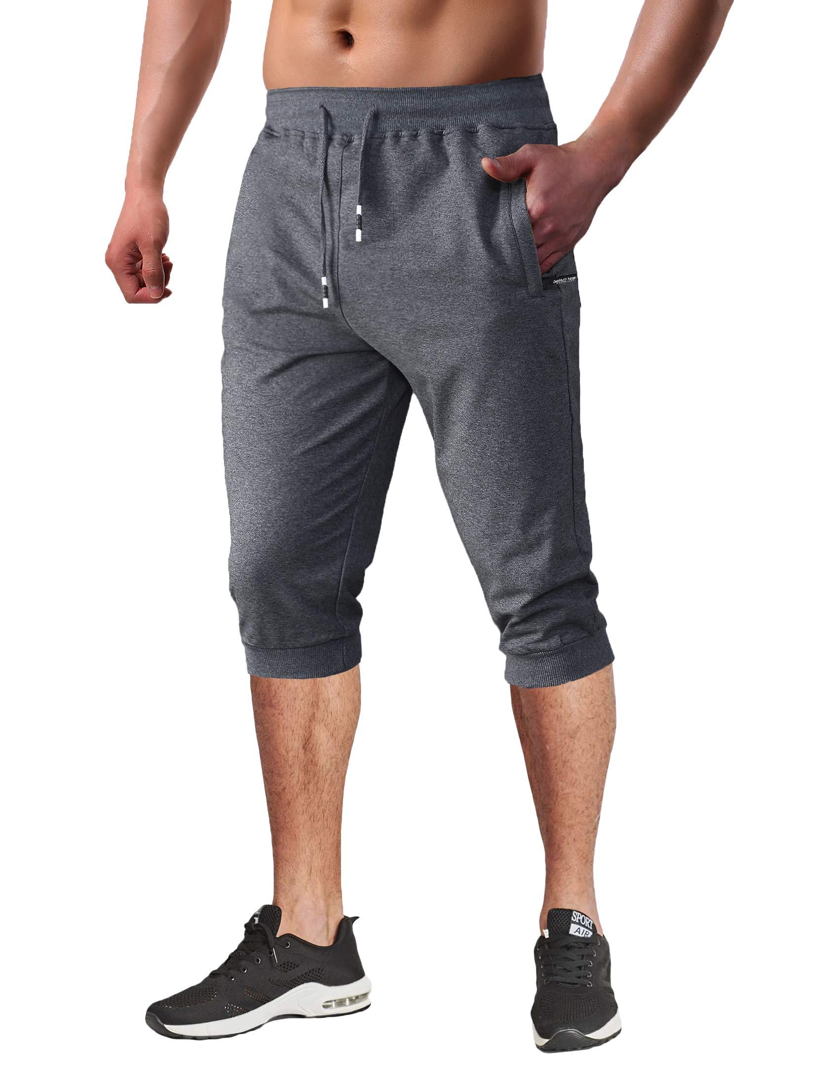 BIYLACLESEN Men's 3/4 Joggers Below Knee Running Gym Capri Pants Zipper Pockets