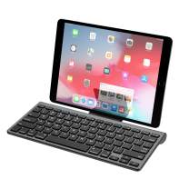 MoKo Bluetooth Keyboard, Wireless Ultra Thin Computer Keyboard with a Removable Bracket for Android, Windows, iOS, Phone, Tablet - Gray