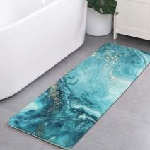 HAOCOO Bath Rug Runner 18x47 inch Turquoise Marble Bath Mat Non-Slip Modern Bathroom Rugs Soft Luxury Microfiber Machine-Washable Floor Throw Rug for Tub Shower