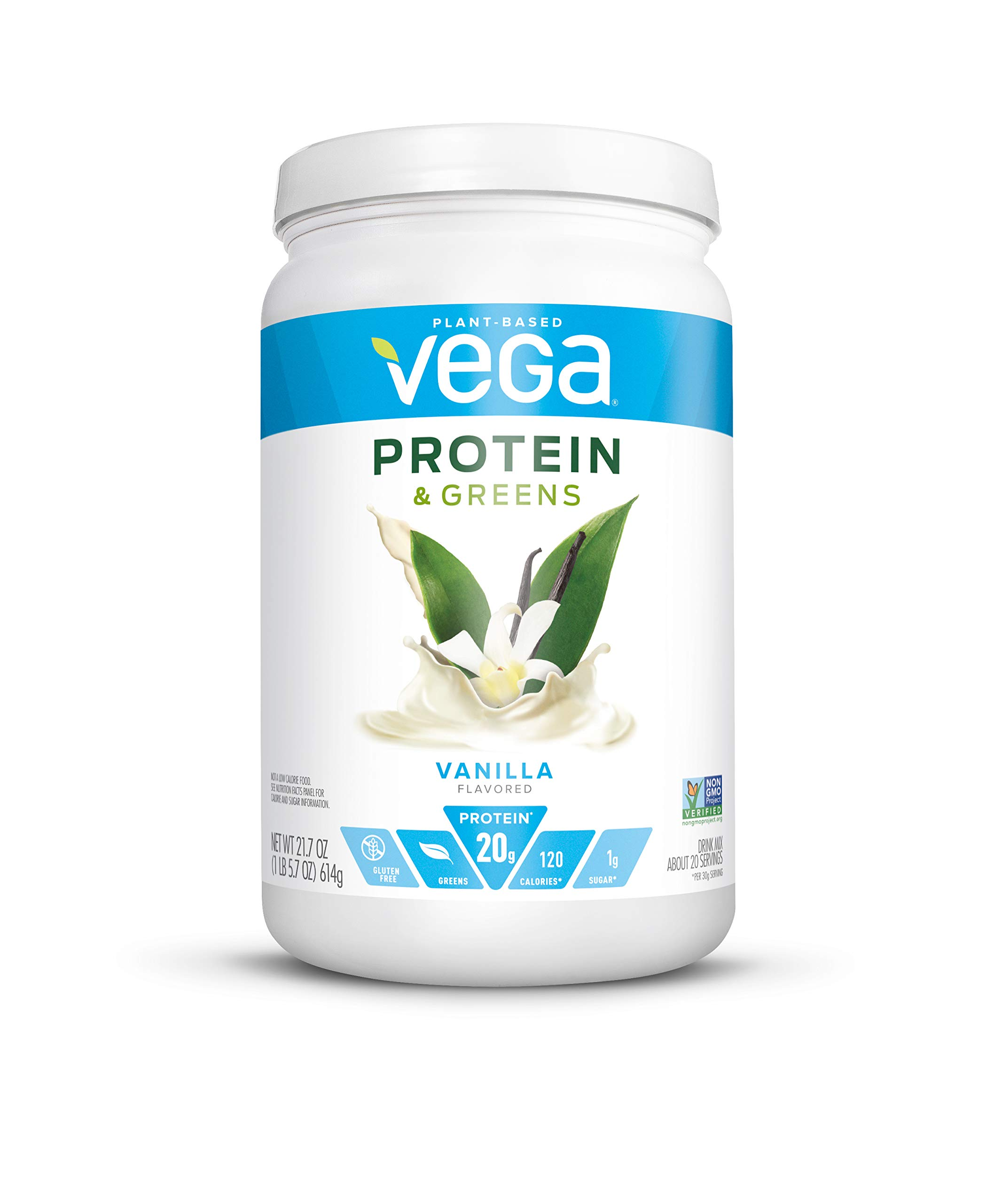 Vega Protein and Greens, Vanilla, Plant Based Protein Powder Plus Veggies - Vegan Protein Powder, Keto-Friendly, Vegetarian, Gluten Free, Soy Free, Dairy Free, Lactose Free (20 Servings, 1lb 5.7oz)