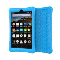 BMOUO Silicone Case for All-New Amazon Fire HD 8 2018 / 2017 - Anti Slip Light Weight Shock Proof Kids Friendly Protective Case for Fire HD 8 Tablet (7th and 8th Generation, 2017 and 2018 Release) , Blue